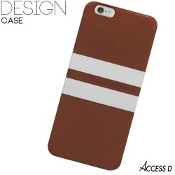 SILICONE BRUN 2 BANDES BLANCHES POUR IPHONE 4/4S
